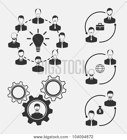 Set of business people, concept of effective teamwork
