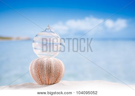 christmas glass ball on  beach and sea urchin  with seascape background