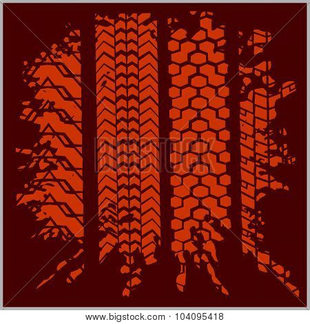 Car tire tracks with grunge - vector set