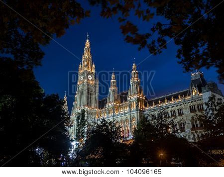 Vienna Rathaus (city Hall) At Night