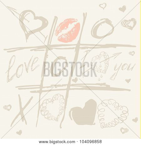 vector Tic Tac Toe Hearts, Valentine background. The valentines day. Love heart. Hand drawn icons sy
