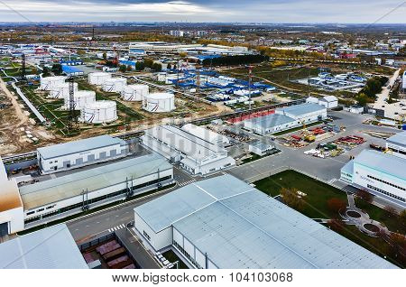 Aerial view on oil pumping station. Tyumen. Russia
