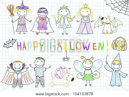 Vector sketches with happy children in Halloween masks. Sketch on notebook page in doodle style