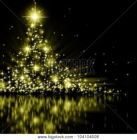 Christmas gold tree, beautiful snowflakes and shining stars