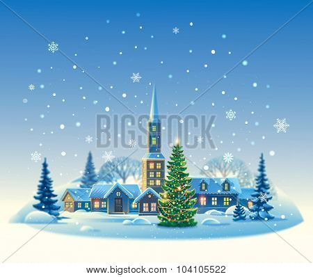 Winter rural landscape with Christmas tree.