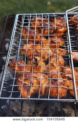 fresh raw chicken in meat holder on grid grill over burned charcoal spiced with salt pepper paprika ready to serve party