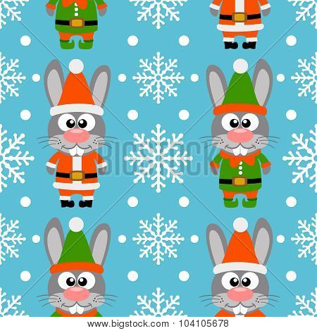 New Year seamless card with rabbits