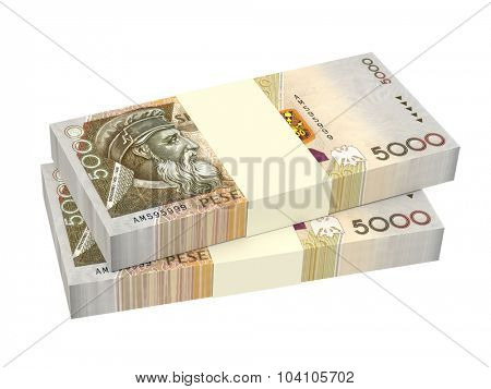 Albanian money isolated on white background. Computer generated 3D photo rendering.