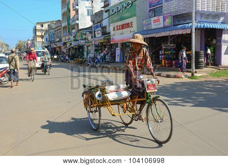 People And Vehicles On The Streets In Mandalay