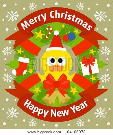 Christmas and New Year background with duckling