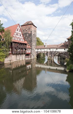 Wine Warehouse, Water Tower and the Bridge of the executioner. Nuremberg.