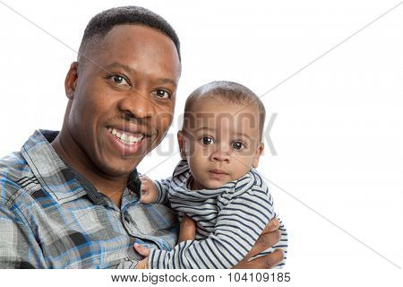 Happy African American Father Holding Baby High Key Portrait Isolated on White Background isolated
