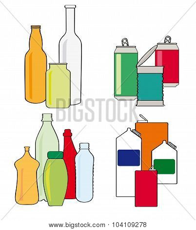 Recycling Bottles, Cartons, Cans And Tins