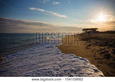 Sunset Beach Background With Sand, Sea And Sky