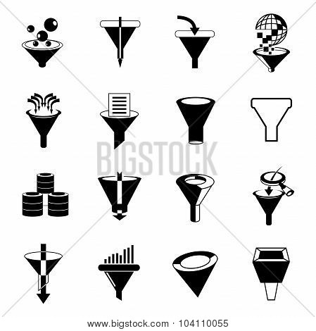 data filter icons, funnel icons