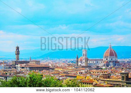 Santa Maria Del Fiore And Palazzo Vecchio In Florence