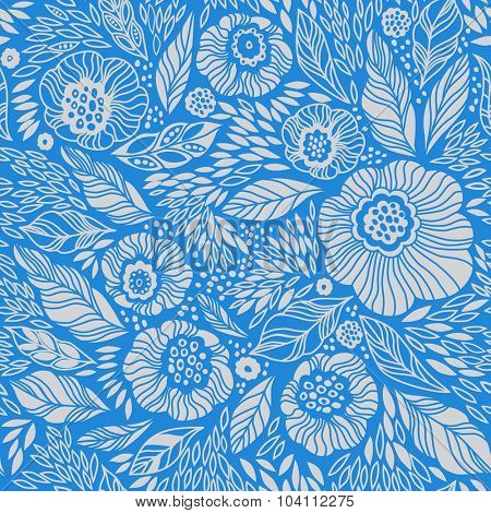 Pale blue decorative floral seamless background pattern. Vintage wallpaper background. Vector illustration