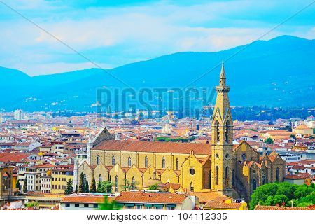 Panoramic View Of Santa Croce Cathedral In Florence