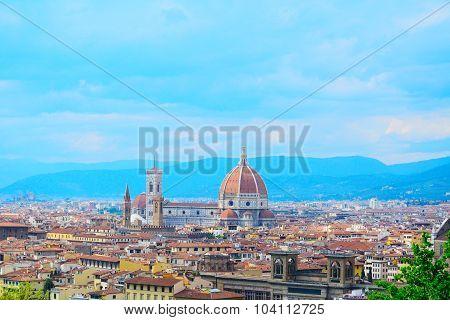Florence Panorama With Palazzo Vecchio And Santa Maria Del Fiore