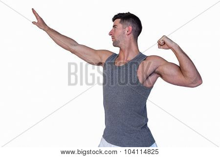 Man posing over white background