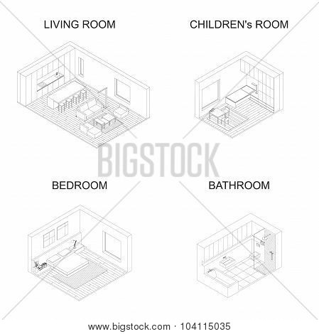 Interior isometric vector rooms.