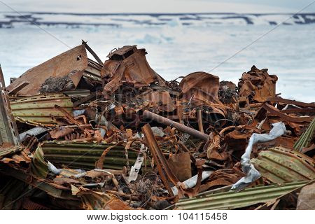 Pile of scrap metal waste in Arctic