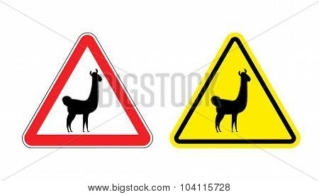 Warning Sign Attention Lama. Hazard Yellow Sign Wild Animal. Alpaca Llama On A Red Triangle. Set  Ro