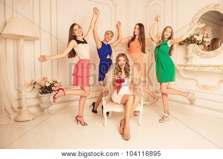 Cheerful Happy Girls Celebrate A Bachelorette Party Of Bride