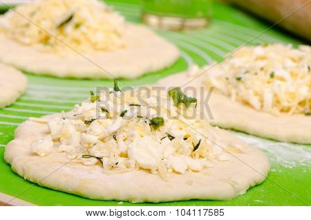 Flat Cake With Cheese Stuffing