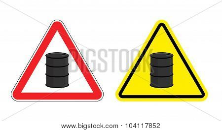 Warning Sign Of Attention Barrel Of Oil. Yellow Danger Radioactive Wastes. Silhouette Metallic Barre