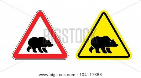 Attention Bear Warning Sign. Hazard Yellow Sign Grizzly. Silhouette Of  Terrible Wild Animal On Red