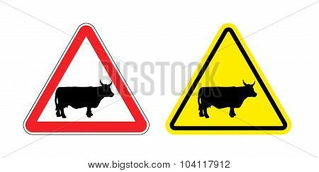 Warning Sign Attention Cow. Hazard Yellow Sign Herding. Silhouette Mammal Animal With Horns On Red T