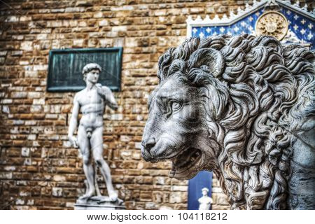 Lion Head Statue In Lanzi Della Loggia With Michelangelo's David In The Background