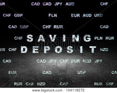 Money concept: Saving Deposit in grunge dark room