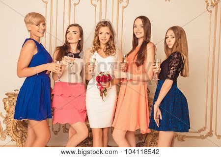 Pretty Bride With Bridesmaids Celebrating Hen-party