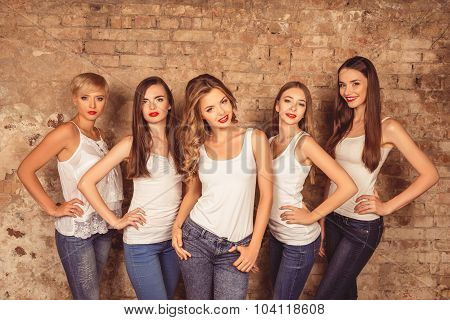 Good-looking Young Women With Red Lips Wearing Dress Code