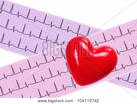 Heart Analysis, Electrocardiogram Graph (ecg) And Red Heart
