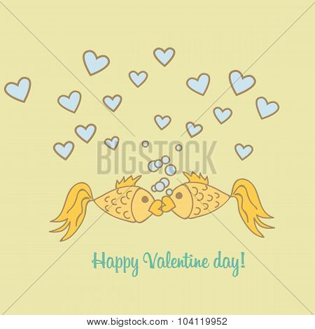 Postcard Valentine Day goldfish