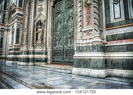 Side View Of Door Entrance In Santa Maria Del Fiore Cathedral