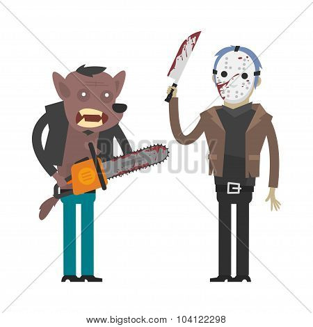 Characters werewolf and maniac killer