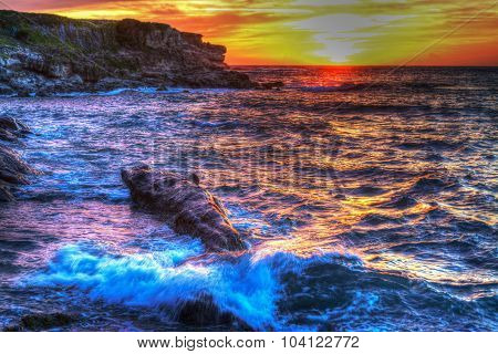 Shoreline On A Colorful Sunset