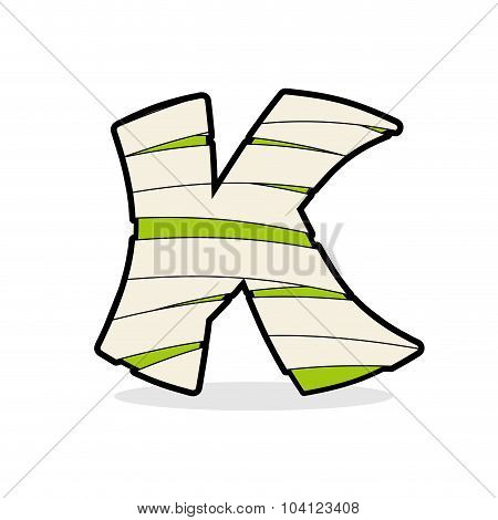 Letter K Monster Zombie. Mummy Abc Icon. Alphabetical Icon Medical Bandages.  Egyptian Concept Of Te
