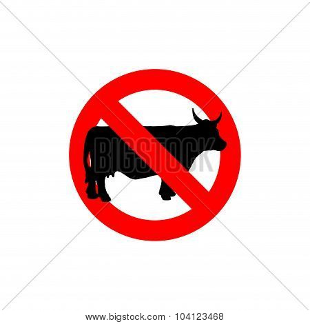 Stop Cow. Prohibited Cattle. Frozen Farm Animal. Red Forbidden Sign. Cows Cannot Be