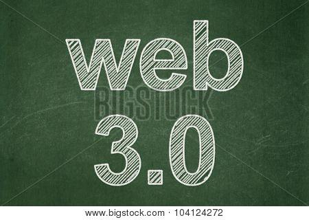 Web development concept: Web 3.0 on chalkboard background