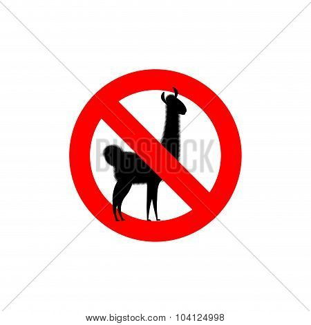 Stop Lama. Alpaca Lama Is Forbidden. Frozen Wild Animal. Red Forbidden Sign.