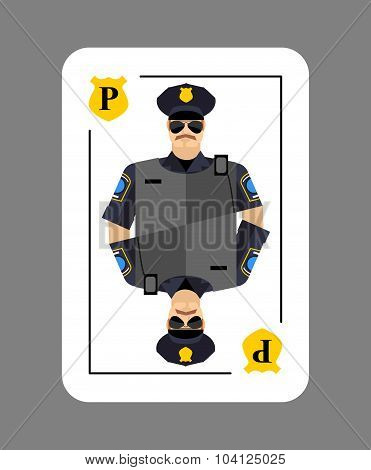 Playing Card Policeman. Conceptual New Card  Police Officer. Arrests In Game All Characters.