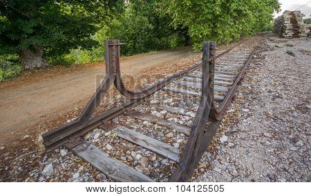 Dead end of a railway train