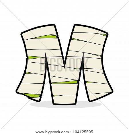 Letter M Mummy. Typography Icon In Bandages. Horrible Egyptian Elements Template Zombies Alphabet. A
