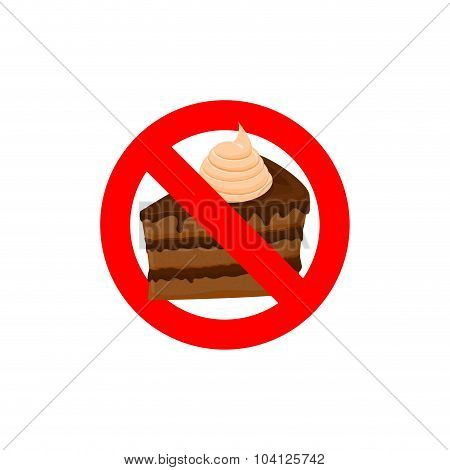Stop Sweets. Forbidden Cake. Red Forbidding Character. Logo For Diet. Frozen Piece Of Cake. Ban Calo