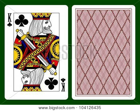 King of clubs playing card and backside background. Faces double sized. Original design. Vector illustration